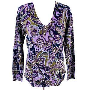 TALBOTS Purple Paisley Merino Sweater Size XL